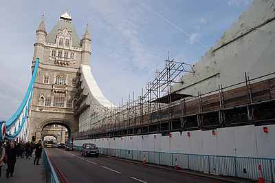 The South Tower and the scaffolding on the South East Suspension Chain