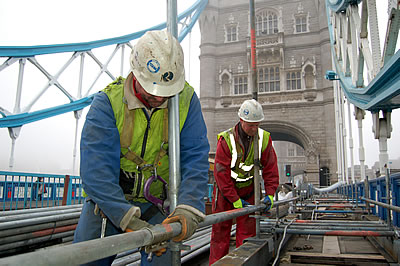 Scaffolders erecting the scaffold on the South Approach - east side