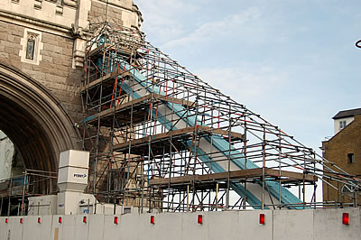 Scaffolding on the east side of the South Abutment Arch