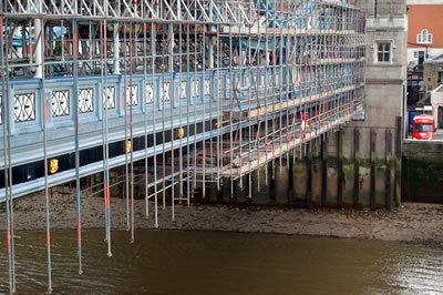 The scaffolding under Tower Bridge