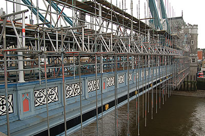 The scaffolding on the west side between the south tower and the Abutment Arch