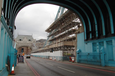 A view of the scaffolding surrounding the North East Suspension Chain