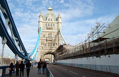 A view looking north showing the South Tower and the scaffoldingon the east side