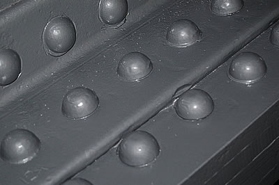 Close up of the rivets