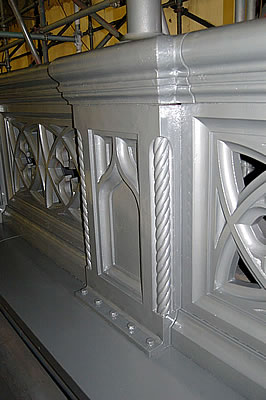 Bridge parapet detail in High Build Aluminium Primer.