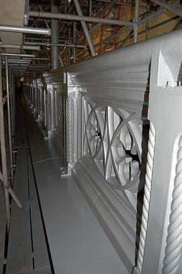 South West Bridge parapet after the application of the High Build Aluminium Primer.