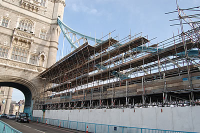 The South Tower and the scaffolding surrounding the South East Suspension Chain
