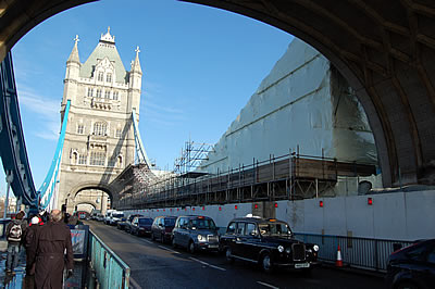The South Tower and scaffolding on the South East Suspension Chain