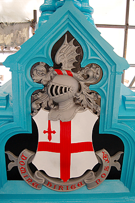 The shield below the lamp stand on the North East Bridge Balustrade