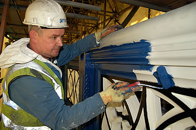 Contractors painting the Bridge Parapet