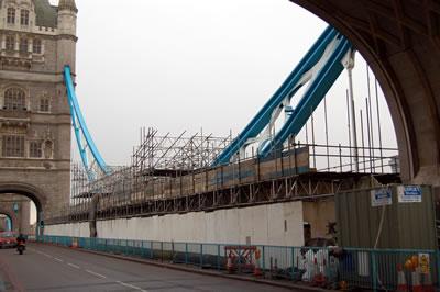 The scaffolding on Tower Bridge