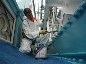 Repainting the blue on the West Walkway