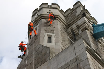 Abseilers on the South Abutment Arch