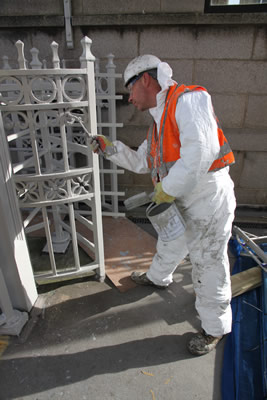 Applying the aluminium undercaot to the South East Turnstile on the South Tower of Tower Bridge
