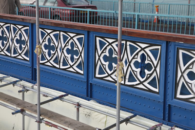 The repainted east balustrade